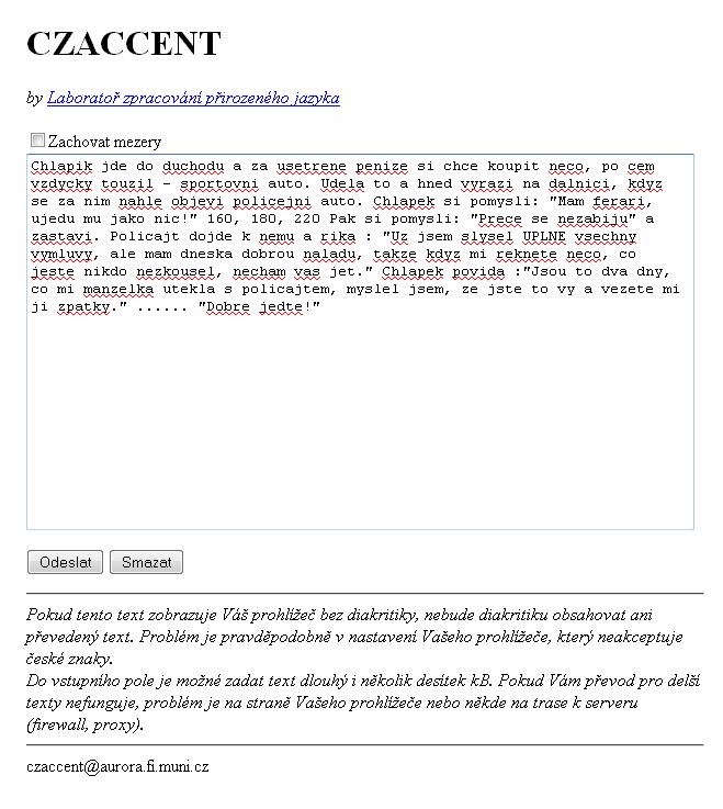 Kontrola čárek v textu online